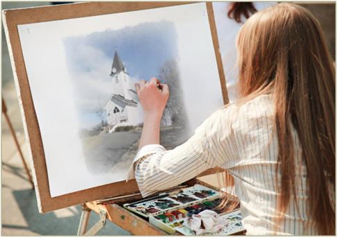 Get creative with watercolors, pastels, markers, pencils or crayons. Relax while you color a free, printable sketch of a pretty country chapel.  Or, use prints of the sketch to follow along with the free painting, drawing and watercolor lessons that you'll find at TodaysArts.net