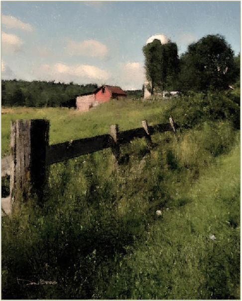 The Fence Row, by Don Berg - Click to find a free, printable sketch of this scene to try with your own acrylics, oil paints, watercolors or pastels.